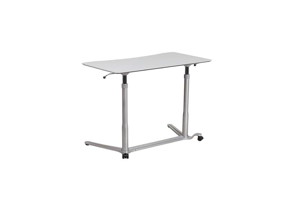 Sit-down,stand-up light gray computer desk