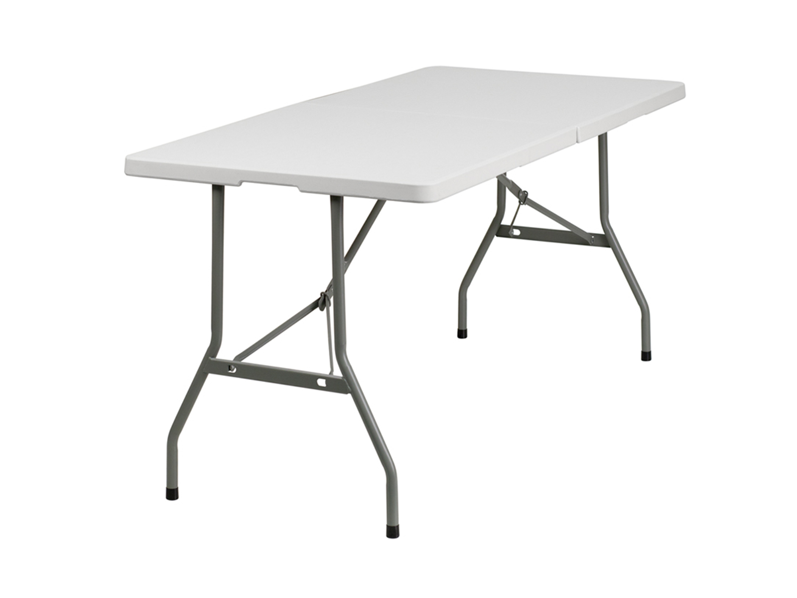 5' Bi-Fold Granite White Plastic Folding Table