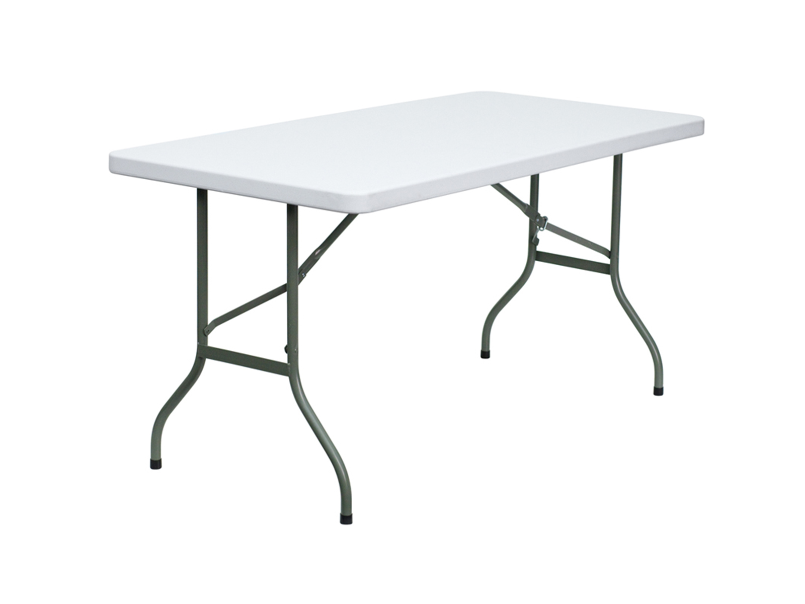 5' Granite White Plastic Folding Table