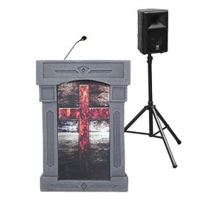 Accent Da Vinci Presenter Pulpit Podium, Gray with Cross Front, Dan James Original