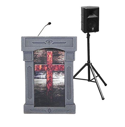 Accent Da Vinci Presenter Pulpit Podium, Gray with Cross Front, Dan James Original
