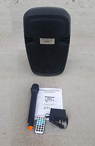 """Clear Sound 8"""" Battery Powered Speaker with Wireless mic"""