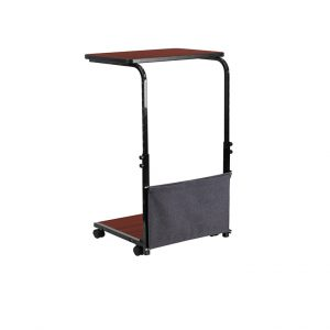 Mobile Sit-Down,Stand-Up Mahogany Computer Desk With Removable Pouch