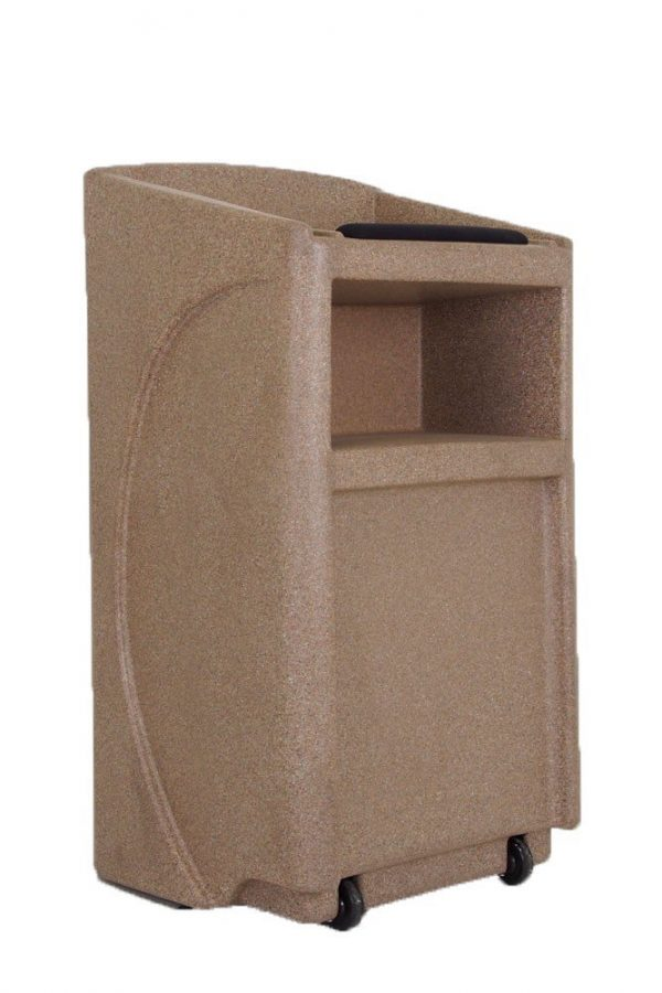 NEW! Accent Classic Presenter Vertical Logo Podium Lectern External Speaker, Beige Granite - Dan James Original