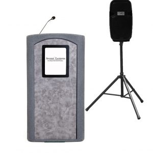 NEW! Accent Classic Presenter Vertical Logo Podium Lectern External Speaker, Gray Granite - Dan James Original