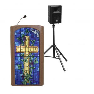 Accent Classic Presenter, Bronze with Stained Glass Front Pulpit - Dan James Original