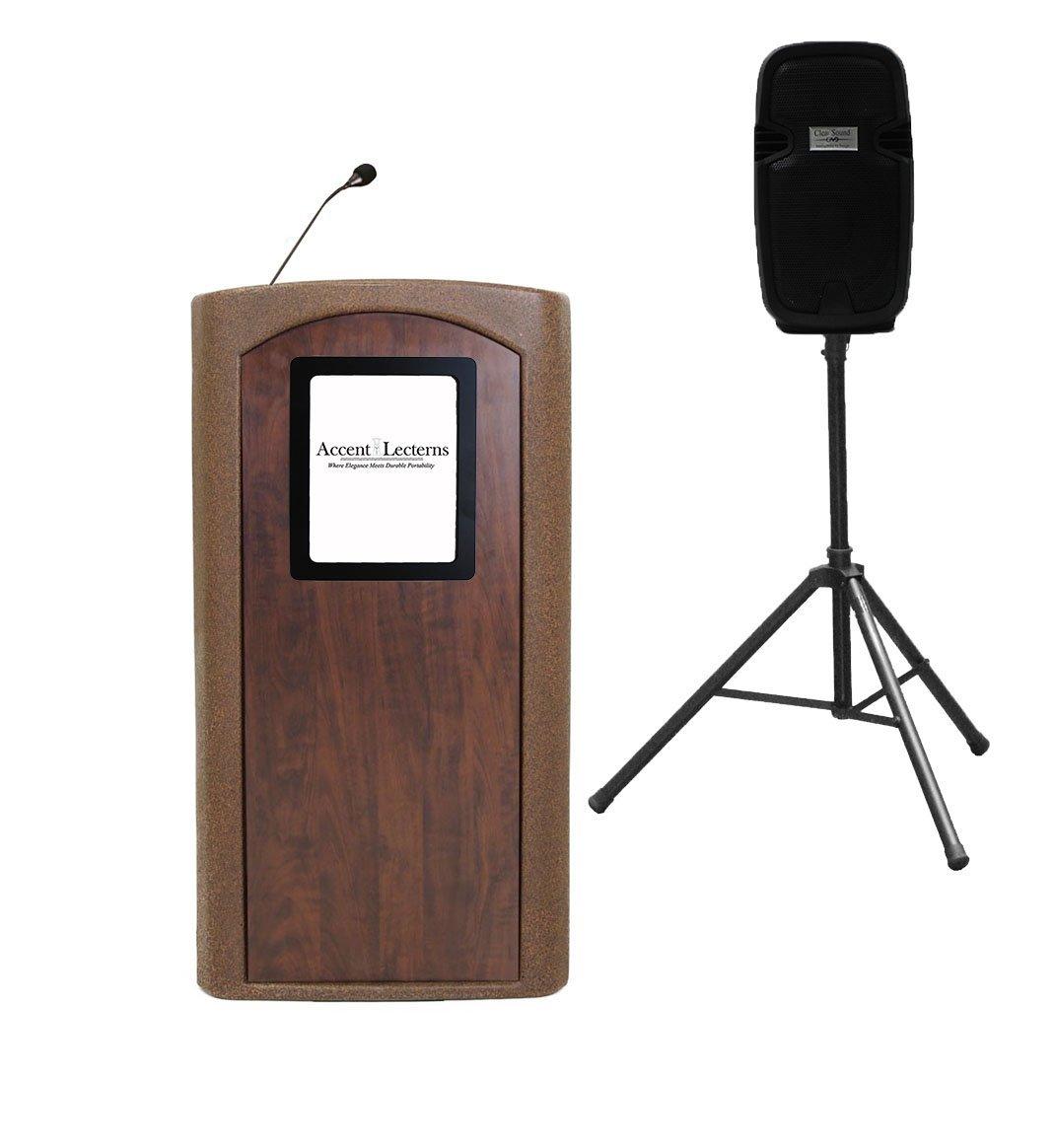 NEW! Accent Classic Presenter Vertical Logo Podium Lectern External Speaker, Bronze Granite - Dan James Original