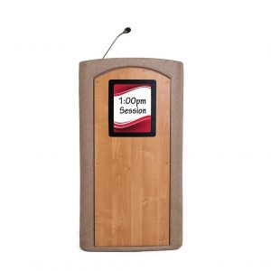 Accent Classic Integrator Vertical Logo Lectern Podium, Beige Granite - Dan James Original