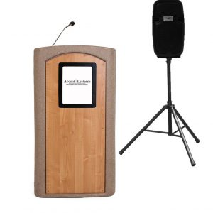 NEW! Accent Classic Presenter Vertical Logo Podium Lectern External Speaker, Beige Granite - Dan James Original