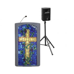 Accent Classic Presenter, Gray with Stained Glass Front Pulpit - Dan James Original