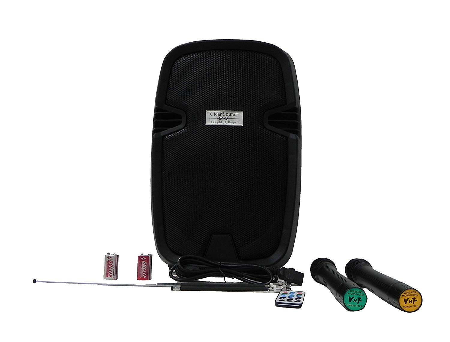 "12"" Professional Speaker Battery Powered with 2 Wireless Microphones"
