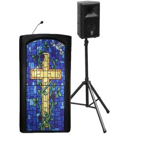 Accent Classic Presenter, Black with Stained Glass Front Pulpit - Dan James Original