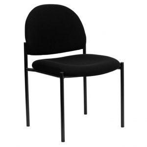 Black Fabric Comfortable Stackable Steel Side Chair