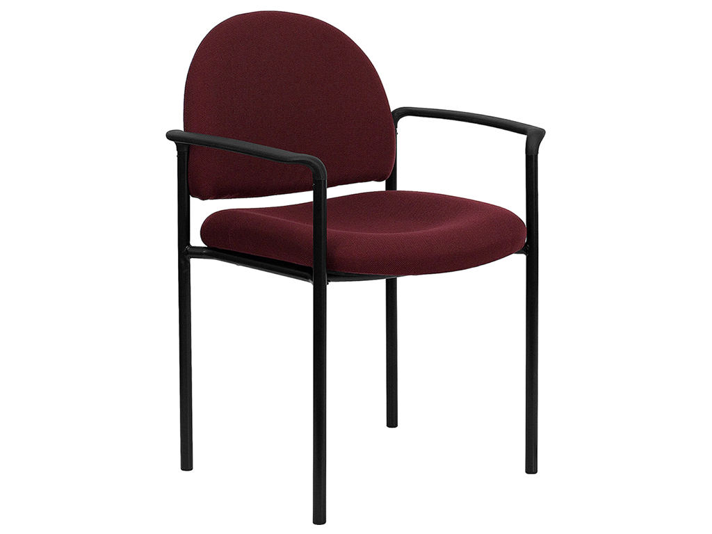 Burgundy Fabric Comfortable Stackable Steel Side Chair With Arms