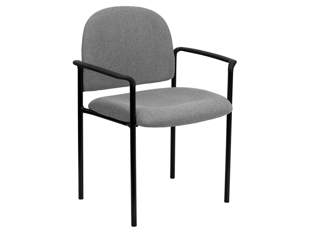Gray Fabric Comfortable Stackable Steel Side Chair With Arms