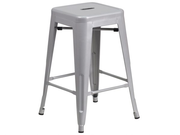 24'' High Backless Silver Metal Chair