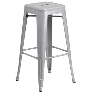 30'' High Backless Silver Metal Chair