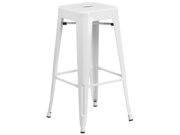 30'' High Backless White Metal Chair