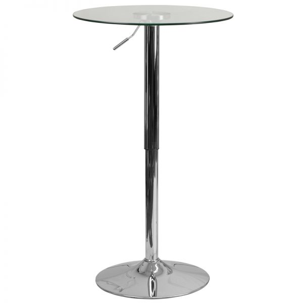 23.5'' Round Adjustable Height Glass Table