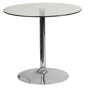 31.5'' Round Glass Table with 29''H Chrome Base