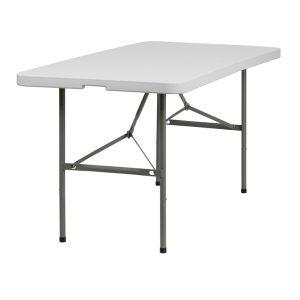 Bi-Fold Granite White Plastic Folding Table