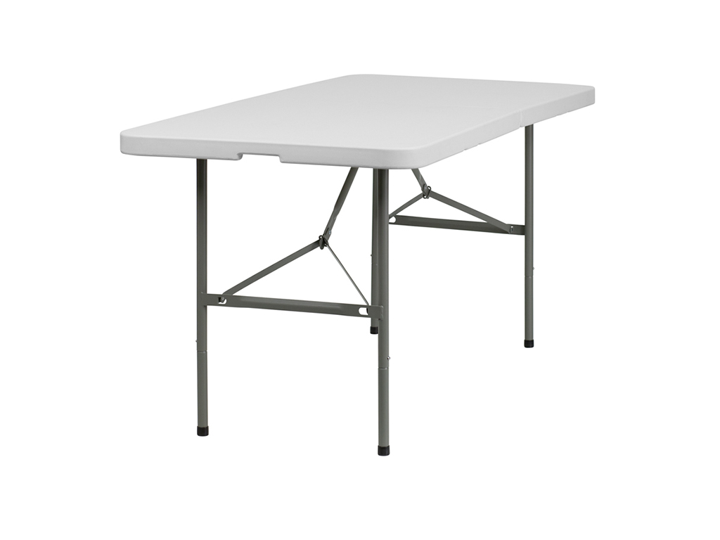 Bi-Fold Granite White Plastic Folding Table
