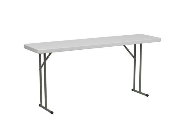 6' Granite White Plastic Folding Training Table