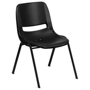 Hercules Series Black Ergonomic Stack Chair