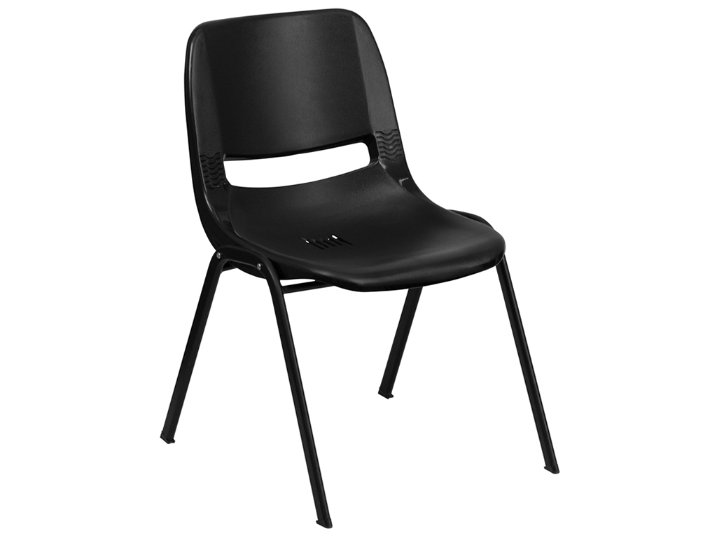 HERCULES Series Black Ergonomic Shell Stack Chair