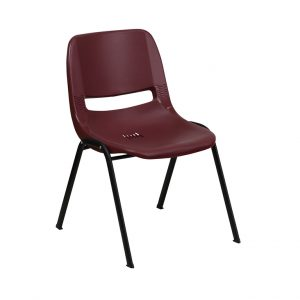 HERCULES Series Burgundy Ergonomic Shell Stack Chair