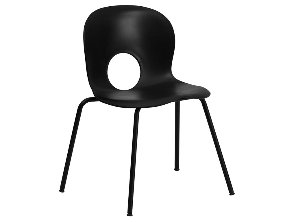 HERCULES Series Designer Black Plastic Stack Chair