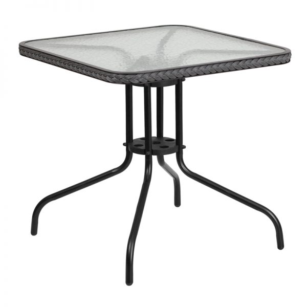 28'' Square Tempered Glass Metal Table