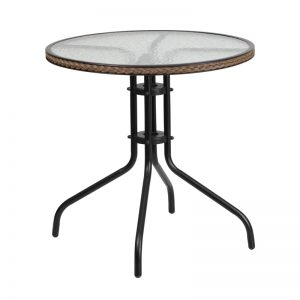 28'' Round Tempered Glass Metal Table