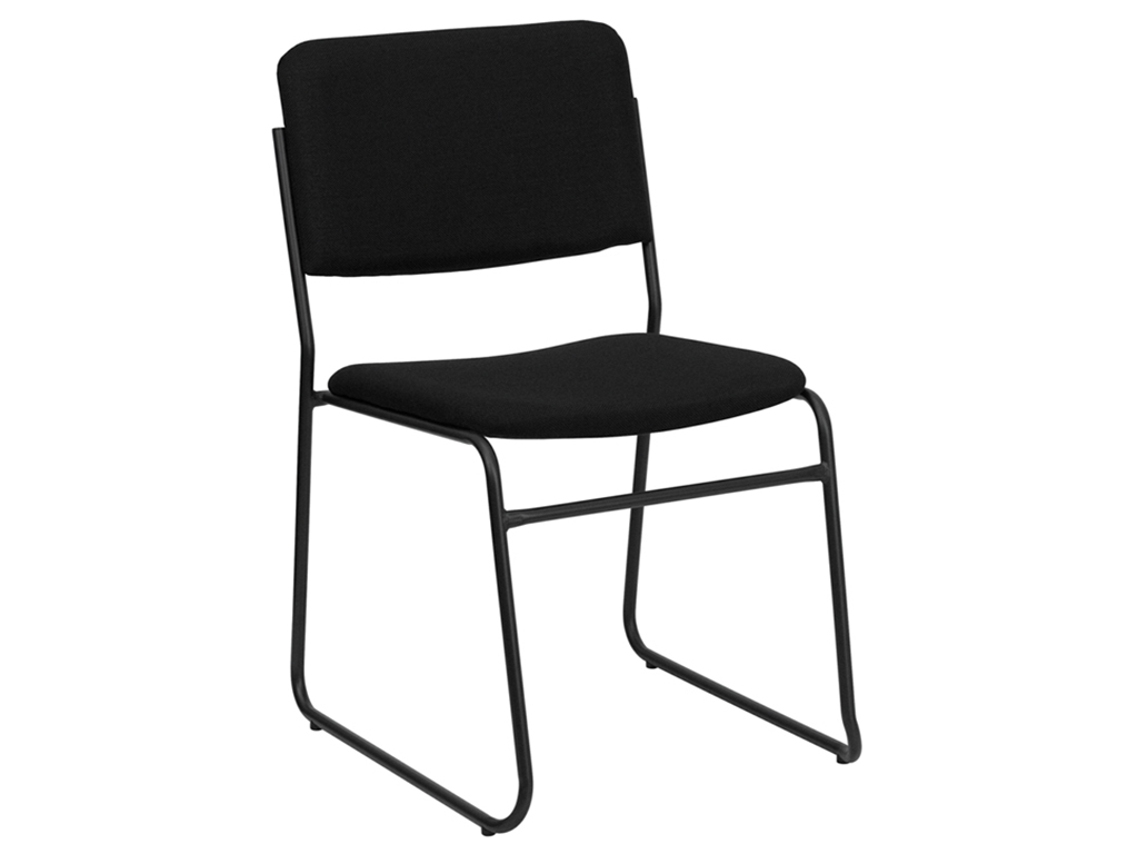HERCULES Series Black Fabric Chair with Sled Base